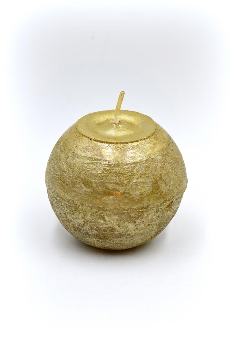 Golyó gyertya 8 cm-es rusztikus arany