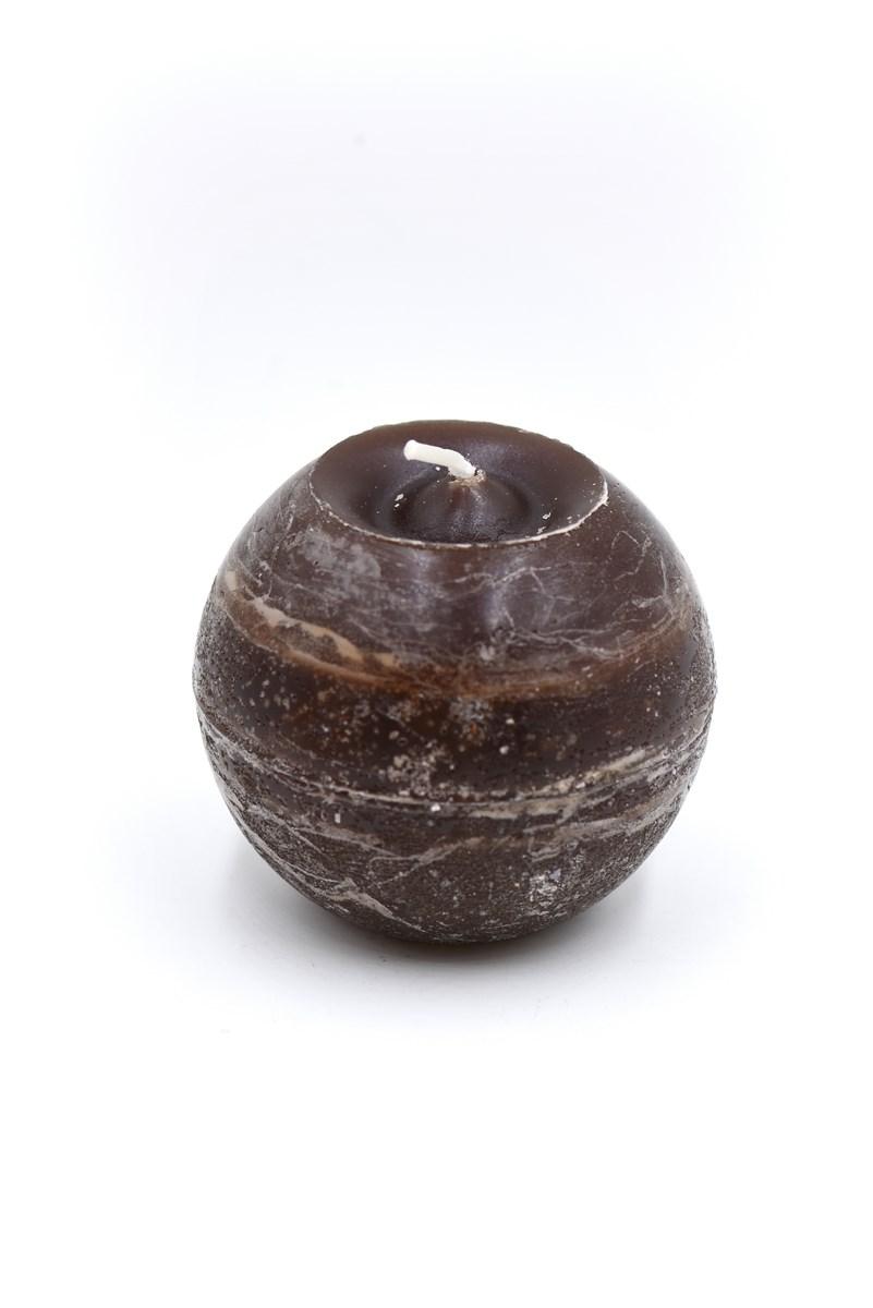 Golyó gyertya 8 cm-es rusztikus mokka