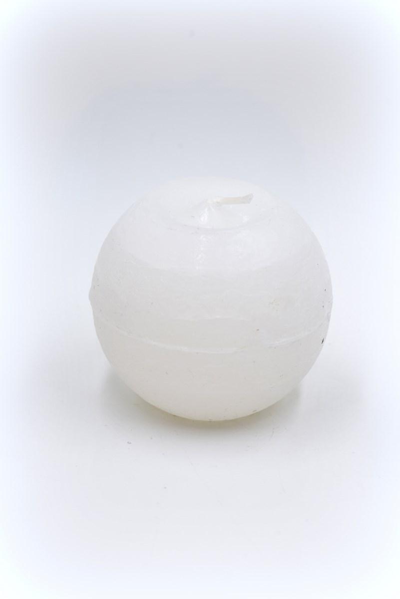 Golyó gyertya 8 cm-es rusztikus fehér