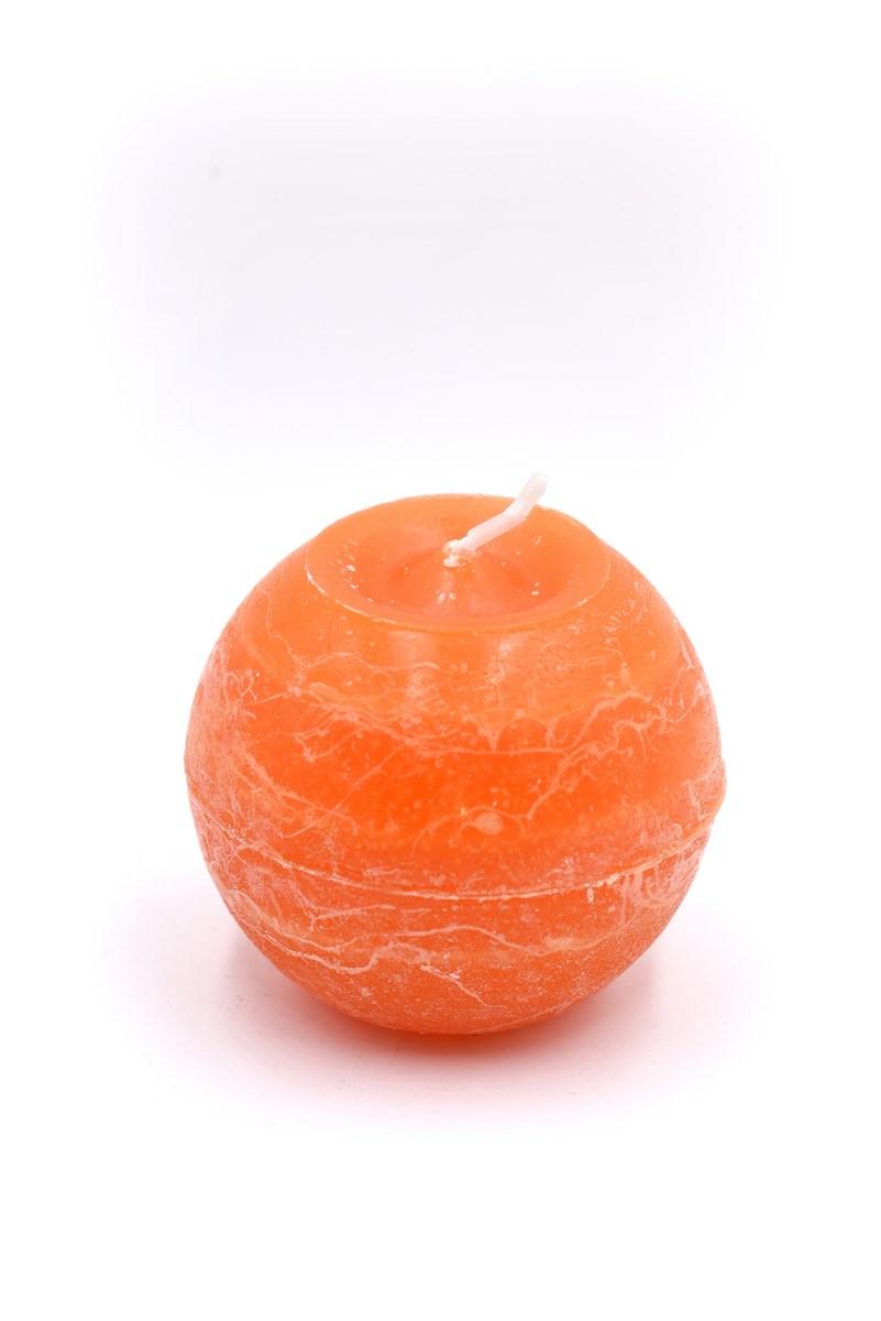 Golyó gyertya 8 cm-es rusztikus narancs