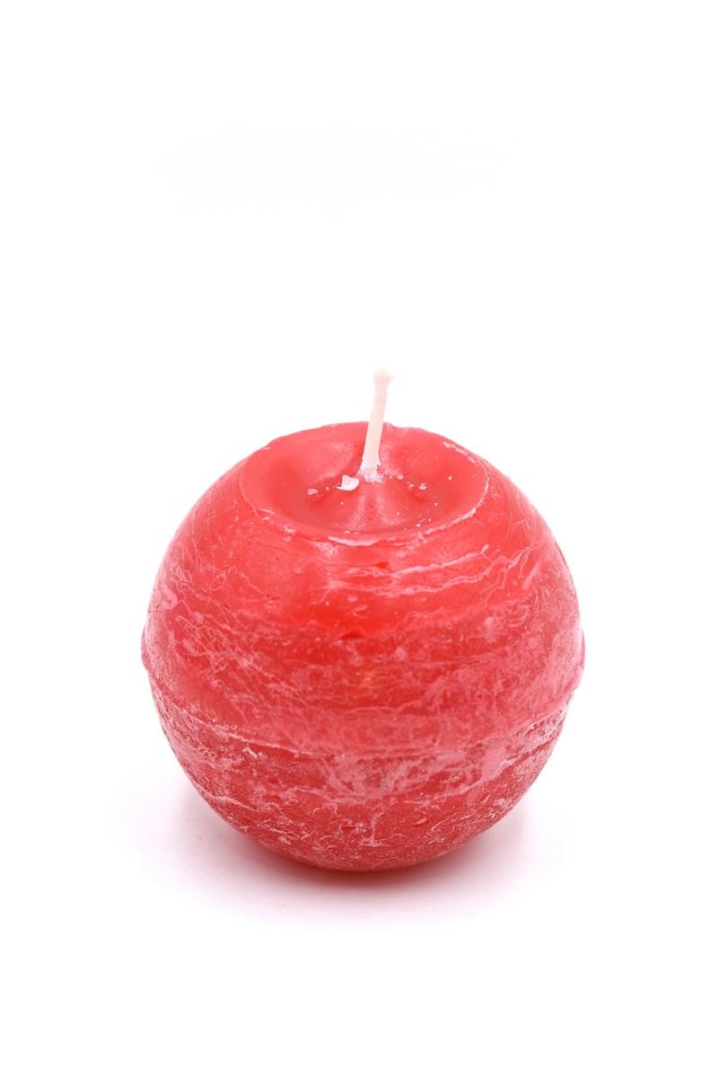 Golyó gyertya 8 cm-es rusztikus piros