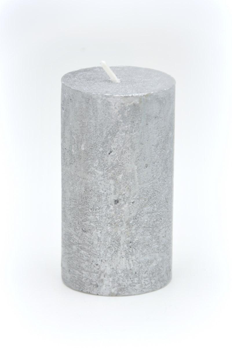 Henger gyertya 5x9 cm-es rusztikus ezüst