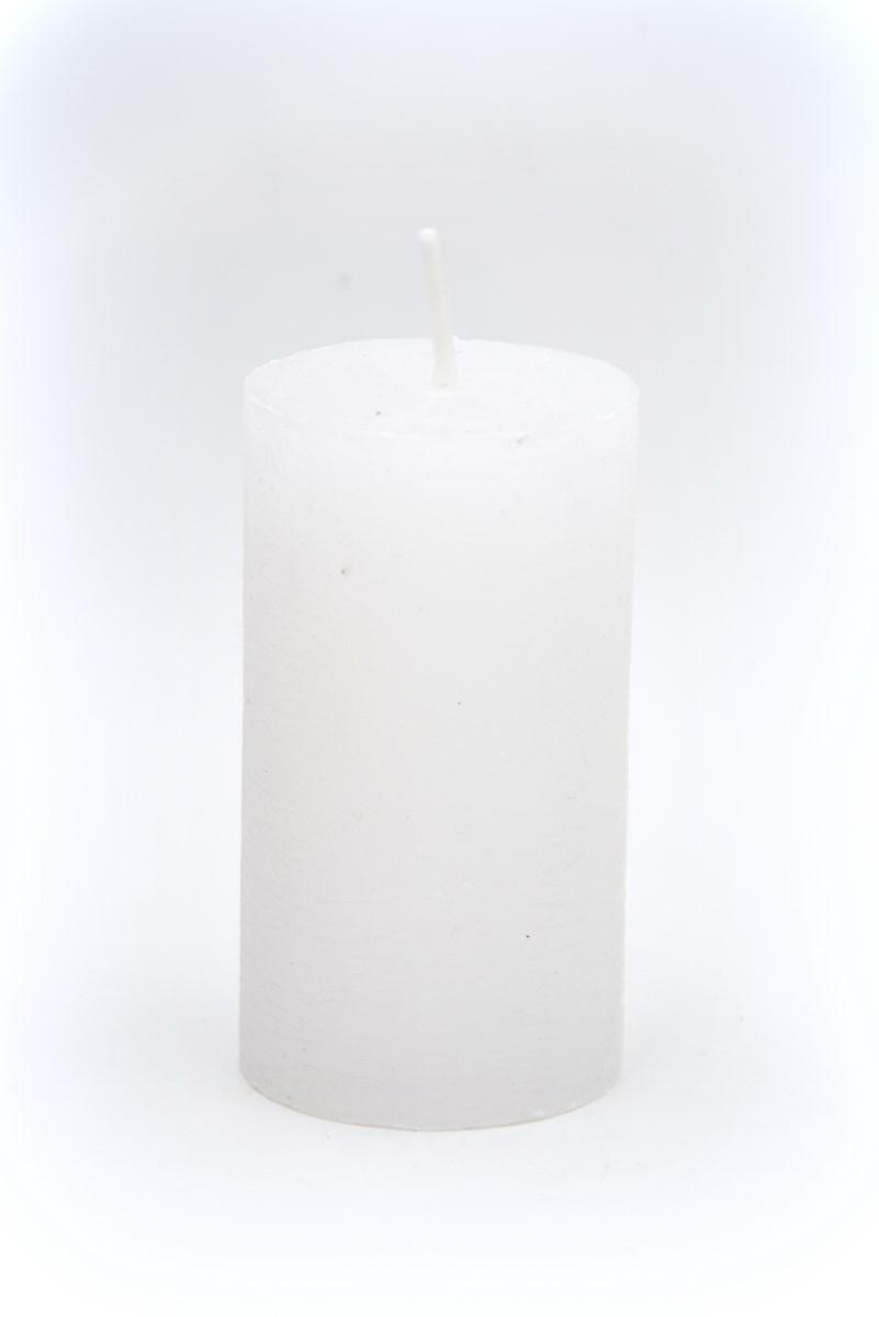 Henger gyertya 5x9 cm-es rusztikus fehér 4db