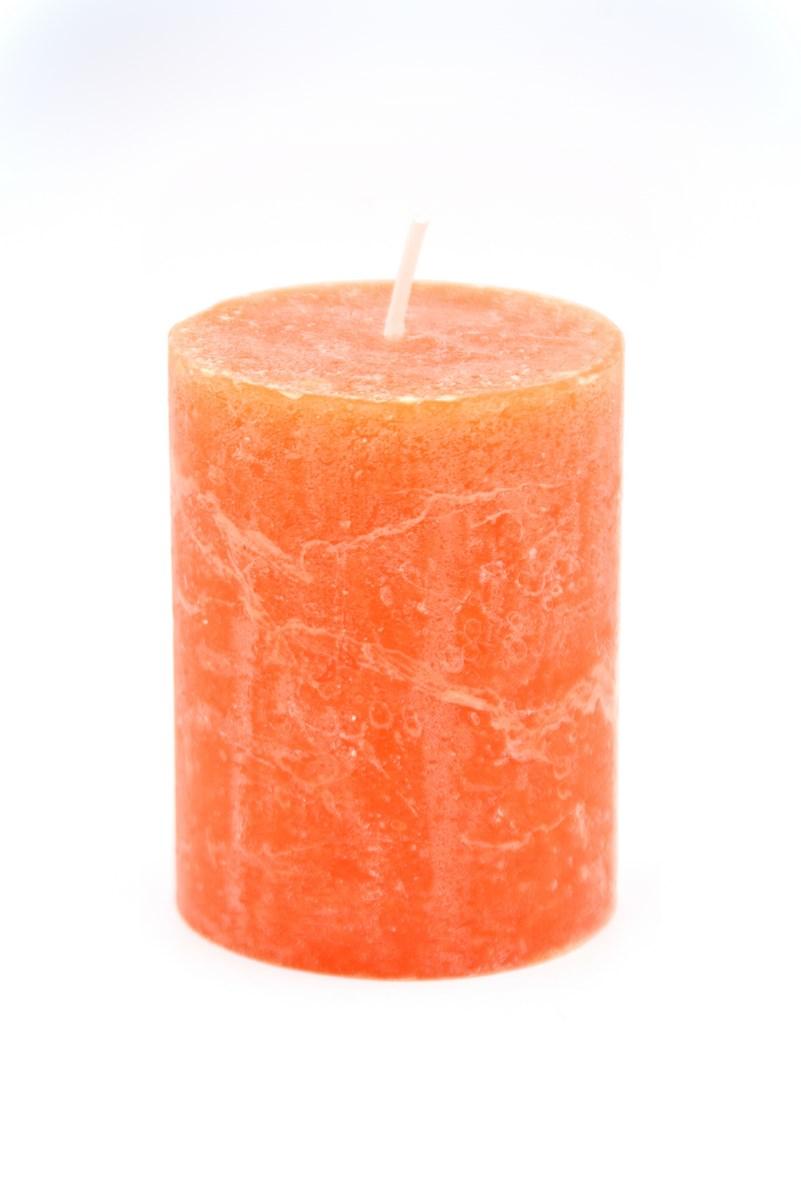 Henger gyertya 7 x 9 cm-es rusztikus narancs 4db