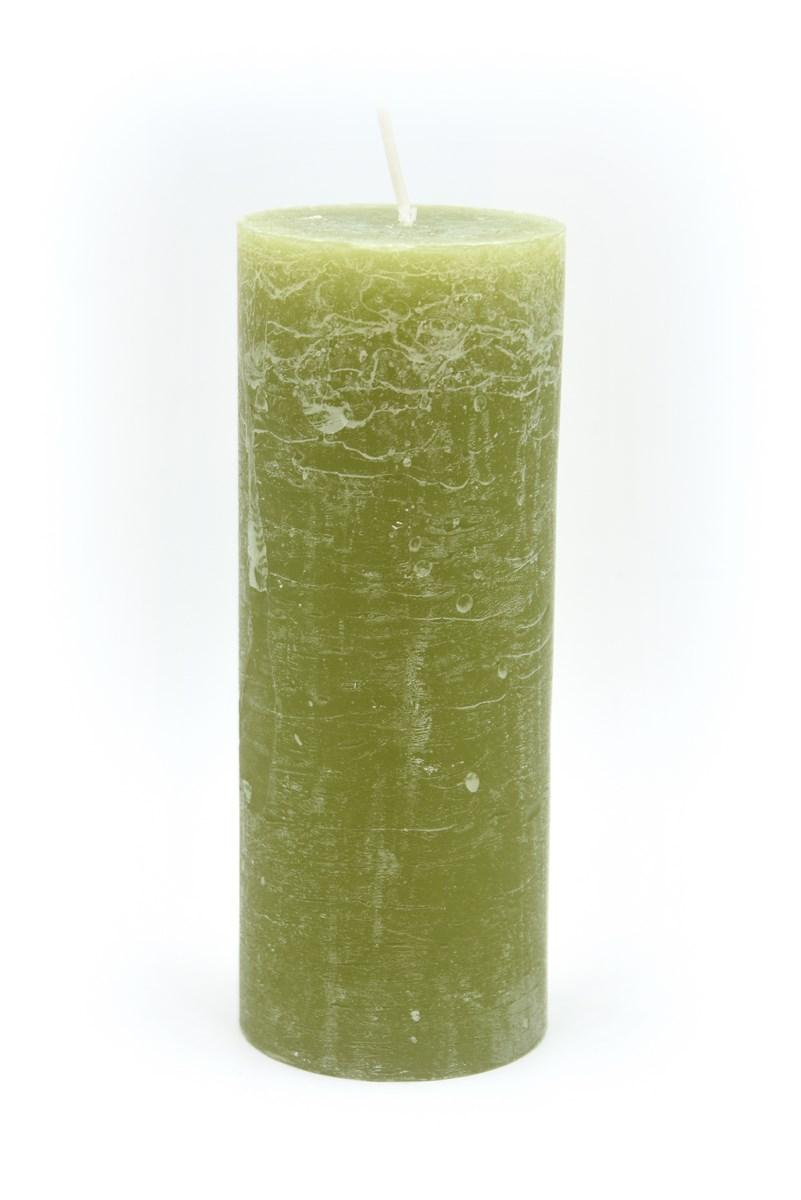 Henger gyertya 7 x 18 cm-es rusztikus oliva