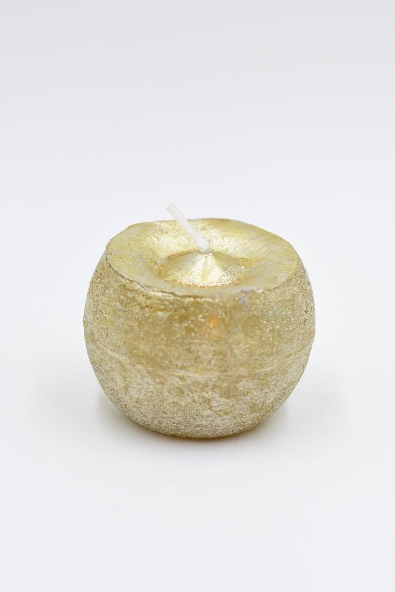 Golyó gyertya 6 cm-es rusztikus arany