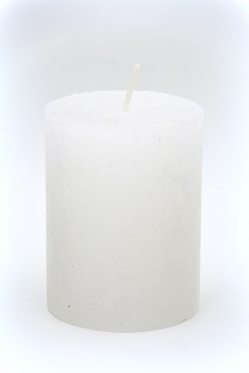 Henger gyertya 7 x 9 cm-es rusztikus fehér 4db